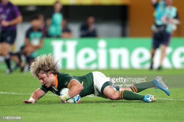 Faf De Klerk of South Africa scores his team's second try during the Rugby World Cup 2019 Quarter Final match between Japan and South Africa at the...
