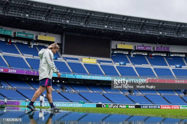 Faf de Klerk of South Africa walks onto the pitch during the South Africa Captain's run ahead of the 2019 Japan Rugby World Cup SemiFinal between...