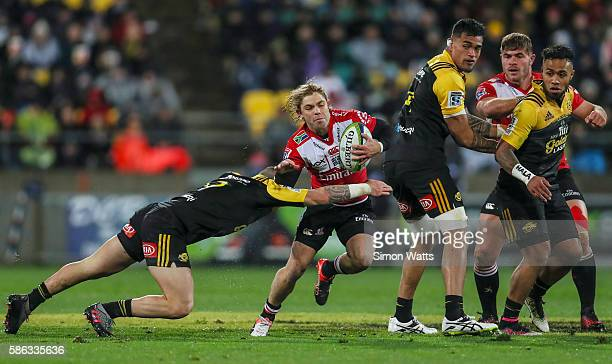 Faf De Klerk of the Lions looks to make a break during the 2016 Super Rugby Final match between the Hurricanes and the Lions at Westpac Stadium on...