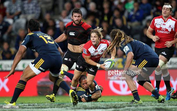 Faf de Klerk of the Lions looks to pass during the round three Super Rugby match between the Highlanders and the Lions at Rugby Park on March 12 2016...
