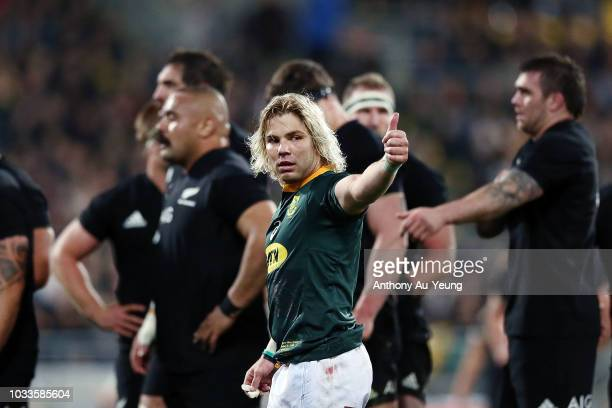 Faf de Klerk of the Springboks reacts during The Rugby Championship match between the New Zealand All Blacks and the South Africa Springboks at...