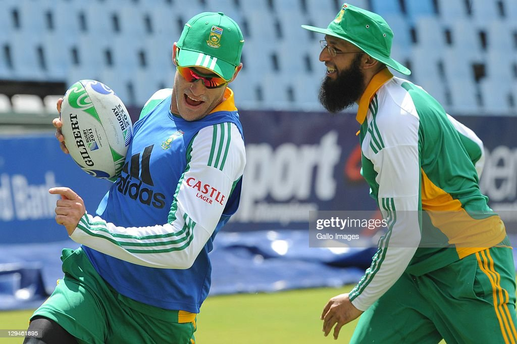 Faf du Plessis and Hashim Amla during the South African Proteas nets session at SuperSport Park, Centurion on October 17, 2011 in Pretoria, South Africa.