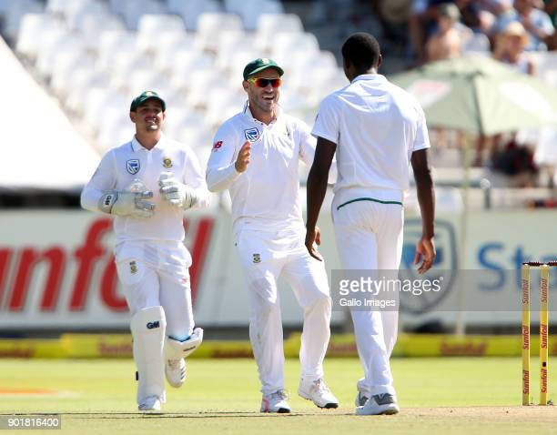 Faf du Plessis and Kagiso Rabada during day 2 of the 1st Sunfoil Test match between South Africa and India at PPC Newlands on January 06 2018 in Cape...
