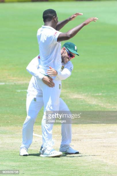 Faf du Plessis and Lungi Ngidi of the Proteas celebrates the wicket of Mohammed Shami of India during day 5 of the 2nd Sunfoil Test match between...