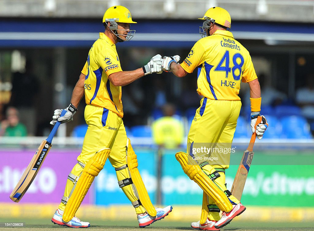 Faf du Plessis and Mike Hussey of CSK during the Champions League Twenty20 match between Chennai Super Kings and Sydney Sixers at Bidvest Wanderers Stadium on October 14, 2012 in Johannesburg, South Africa.
