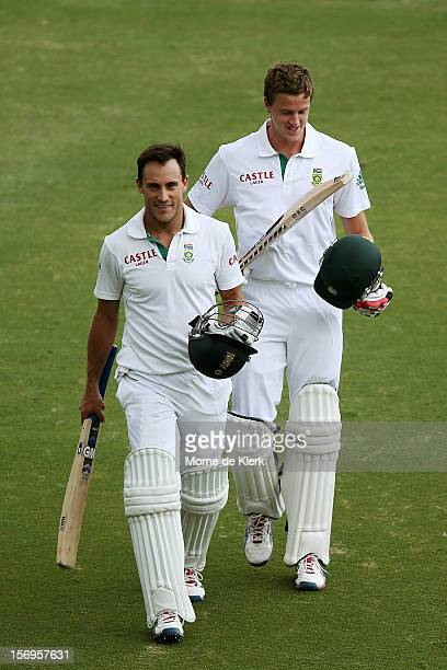 Faf du Plessis and Morne Morkel of South Africa leaves the field after the end of play day five of the Second Test Match between Australia and South...