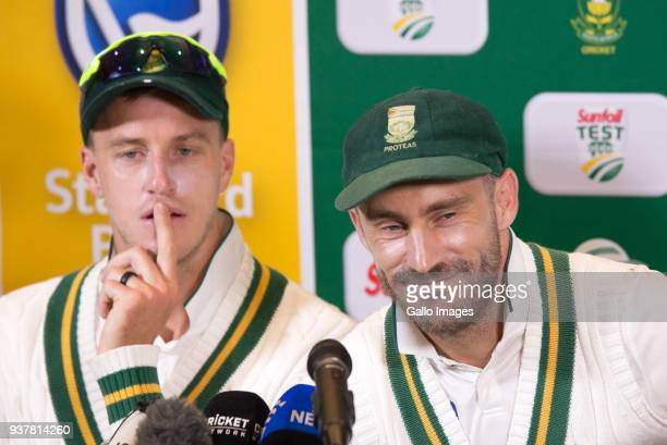 Faf du Plessis and Morne Morkel speaks during the press conference after day 4 of the 3rd Sunfoil Test match between South Africa and Australia at...
