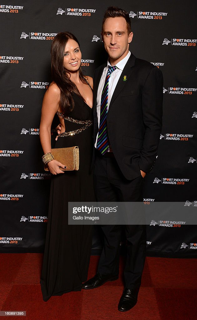 Faf du Plessis and partner attend the Virgin Active Sport Industry Awards 2013 held at Emperors Palace on February 07, 2013 in Johannesburg, South Africa.