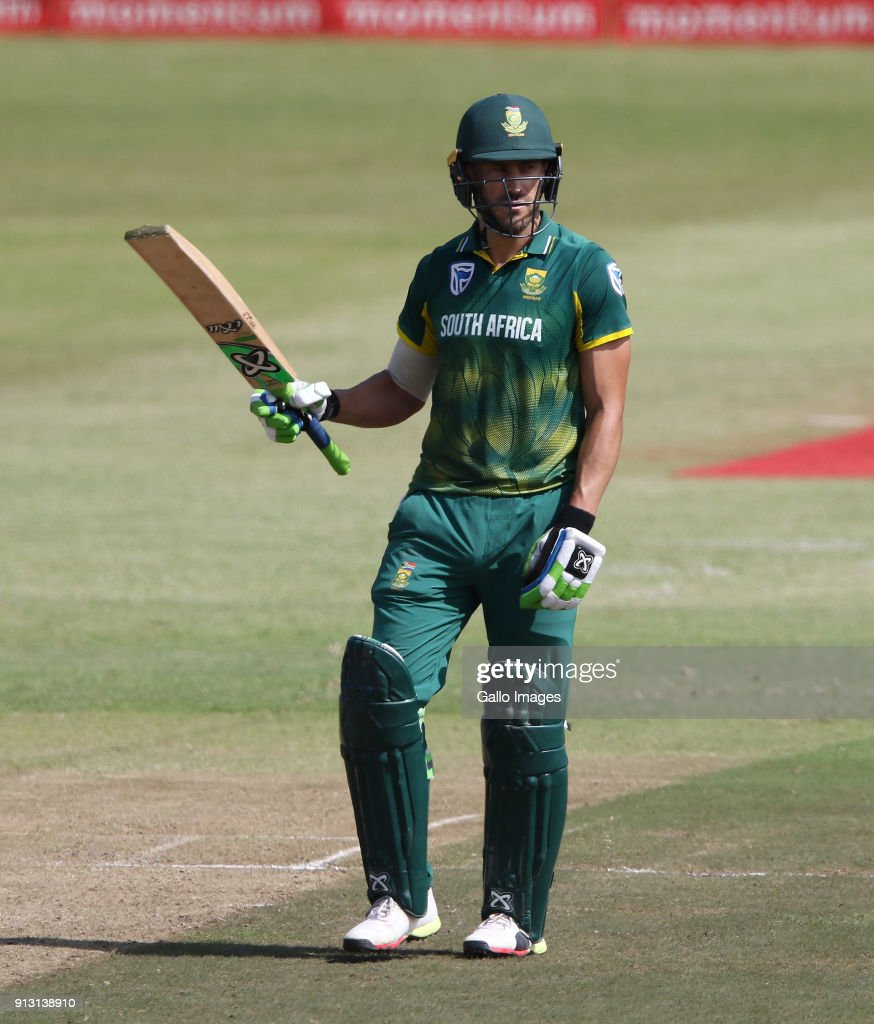 Faf du Plessis celebrates reaching a half century the 1st Momentum ODI match between South Africa and India at Sahara Stadium Kingsmead on February 01, 2018 in Durban, South Africa.