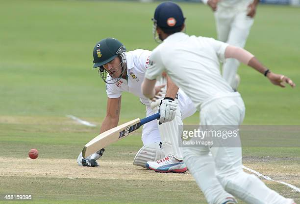 Faf du Plessis gets hit in the groin during day 3 of the 1st Test match between South Africa and India at Bidvest Wanderers Stadium on December 20...