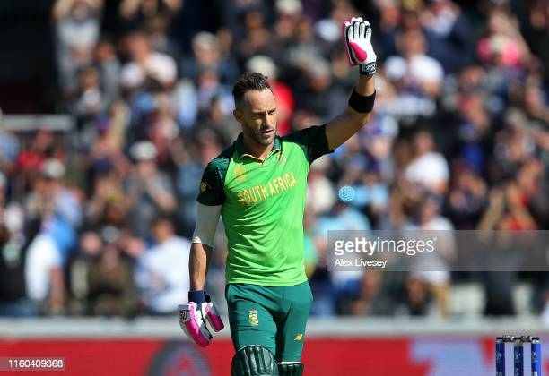 Faf Du Plessis of South Africa acknowledges the crowd after reaching 100 not out during the Group Stage match of the ICC Cricket World Cup 2019...