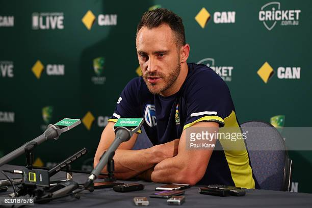 Faf du Plessis of South Africa addresses the media at a press conference before a South Africa nets session at the WACA on November 2 2016 in Perth...