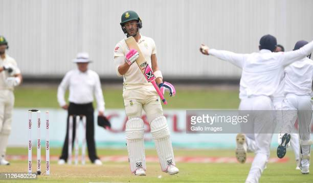 Faf du Plessis of South Africa b Dimuth Karunaratne of Sri Lanka during day 1 of the 2nd Castle Lager Test match between South Africa and Sri Lanka...