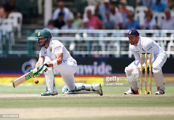 Faf du Plessis of South Africa bats as Jonny Bairstow of England keeps wicket during day four of the 2nd Test at Newlands Stadium on January 5 2016...