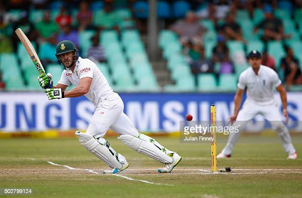 Faf du Plessis of South Africa bats during day four of the 1st Test between South Africa and England at Sahara Stadium Kingsmead on December 29 2015...