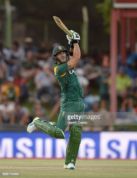 Faf du Plessis of South Africa bats during the 1st Momentum ODI match between South Africa and England at Mangaung Oval on February 3 2016 in...
