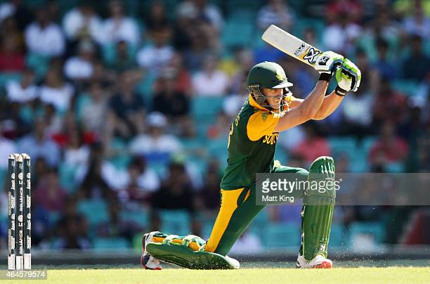 Faf du Plessis of South Africa bats during the 2015 ICC Cricket World Cup match between South Africa and the West Indies at Sydney Cricket Ground on...