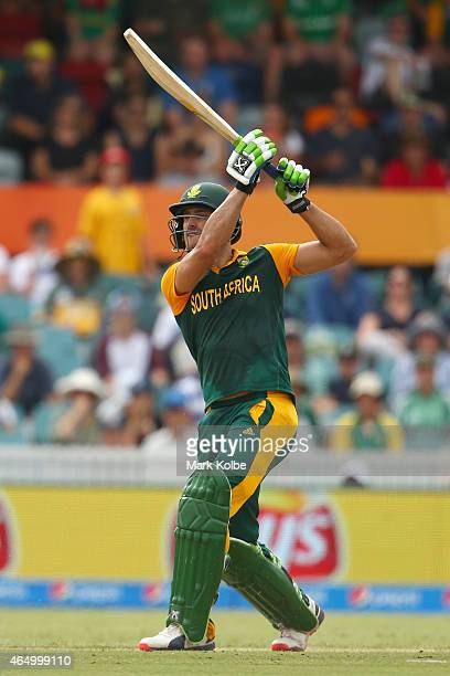 Faf du Plessis of South Africa bats during the 2015 ICC Cricket World Cup match between South Africa and Ireland at Manuka Oval on March 3 2015 in...