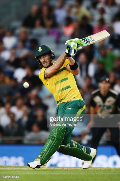 Faf du Plessis of South Africa bats during the first International Twenty20 match between New Zealand and South Africa at Eden Park on February 17...