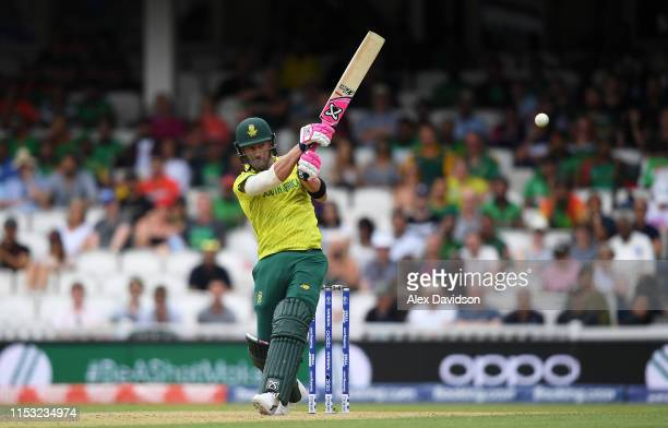 Faf du Plessis of South Africa bats during the Group Stage match of the ICC Cricket World Cup 2019 between South Africa and Bangladesh at The Oval on...
