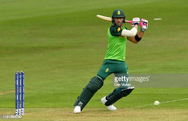 Faf du Plessis of South Africa bats during the ICC Cricket World Cup 2019 Warm Up match between Sri Lanka and South Africa at Cardiff Wales Stadium...