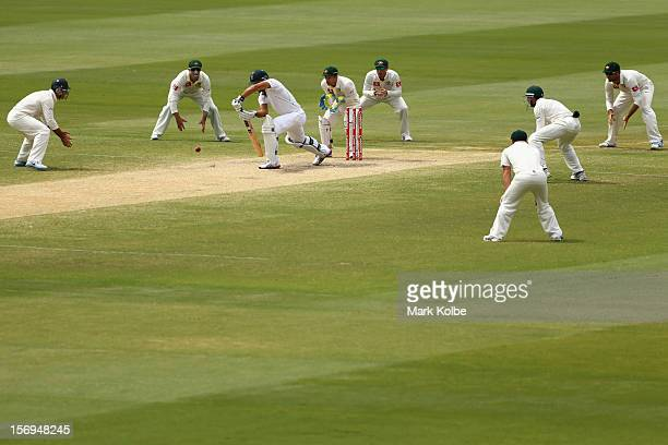 Faf du Plessis of South Africa bats surrounded by the Australian fielders during day five of the Second Test Match between Australia and South Africa...