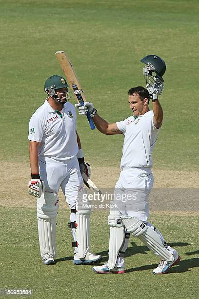 Faf du Plessis of South Africa celebrates after reaching 100 runs during day five of the Second Test Match between Australia and South Africa at...