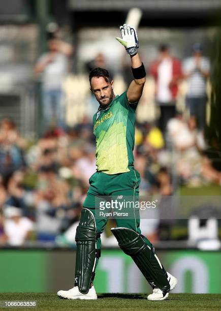 Faf du Plessis of South Africa celebrates after reaching his century during game three of the One Day International series between Australia and...