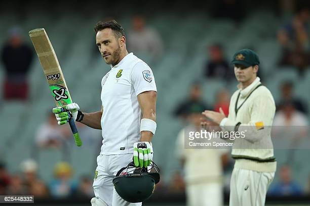 Faf du Plessis of South Africa celebrates after scoring a century during day one of the Third Test match between Australia and South Africa at...
