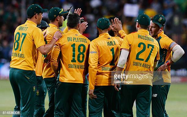 Faf du Plessis of South Africa celebrates after taking a catch to dismiss Shane Watson of Australia during the 3rd KFC T20 International match...