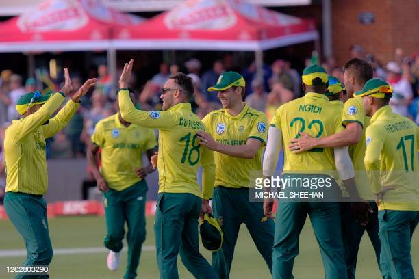 Faf du Plessis of South Africa celebrates celebrates after taking Steve Smith of Australia wicket during the second T20 international cricket match...