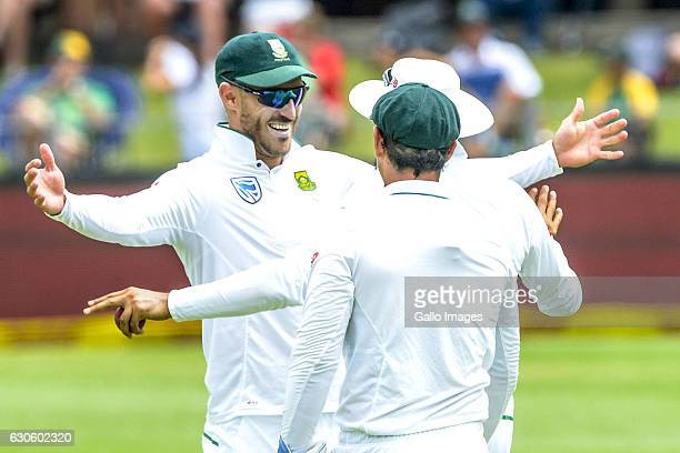 Faf Du Plessis of South Africa celebrates during day 3 of the 1st Test match between South Africa and Sri Lanka at St Georgeâs Park on December 28...