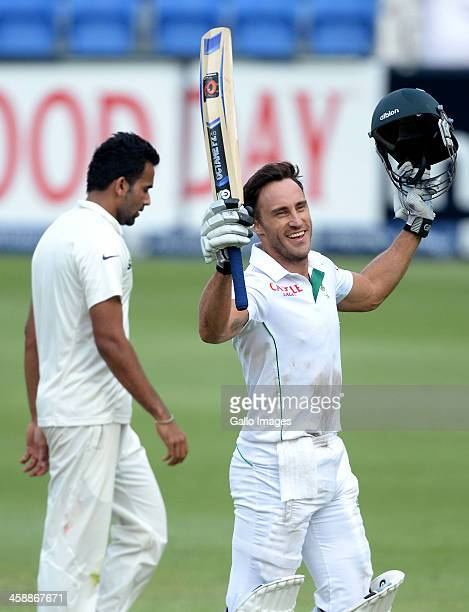 Faf du Plessis of South Africa celebrates his century during day 5 of the 1st Test match between South Africa and India at Bidvest Wanderers Stadium...