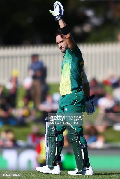 Faf du Plessis of South Africa celebrates his century during game three of the One Day International series between Australia and South Africa at...