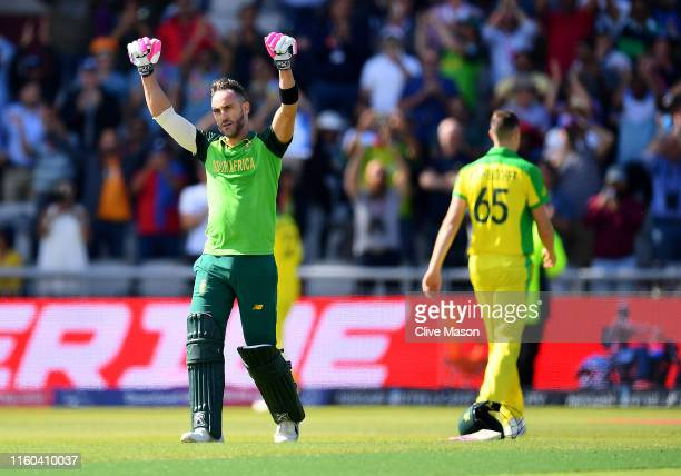 Faf du Plessis of South Africa celebrates his century during the Group Stage match of the ICC Cricket World Cup 2019 between Australia and South...