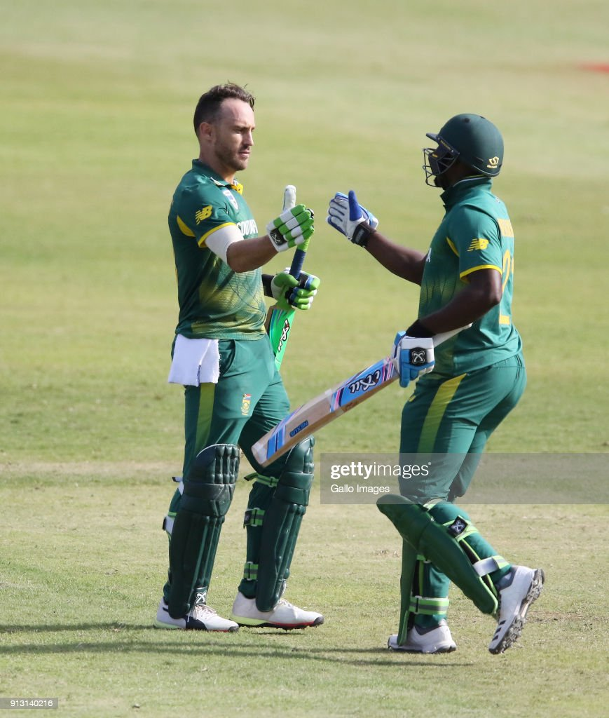 Faf du Plessis of South Africa celebrates reaching his century during the 1st Momentum ODI match between South Africa and India at Sahara Stadium Kingsmead on February 01, 2018 in Durban, South Africa.
