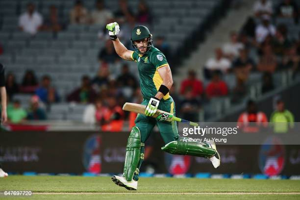 Faf du Plessis of South Africa celebrates winning game five of the One Day International series between New Zealand and South Africa at Eden Park on...