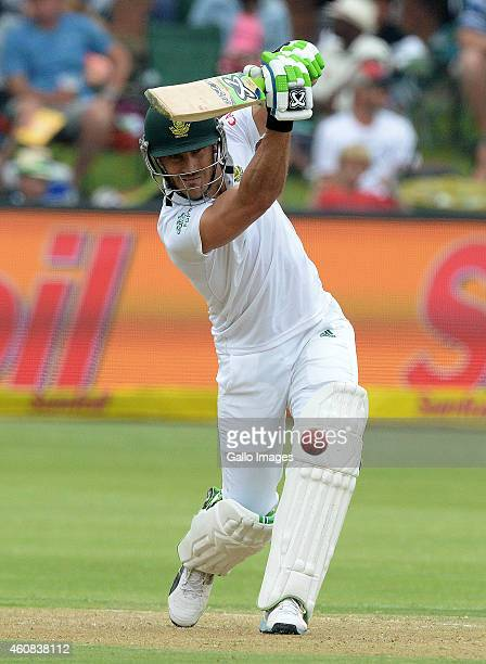 Faf du Plessis of South Africa drives for a boundary during day 1 of the 2nd Test match between South Africa and West Indies at St Georges Park on...