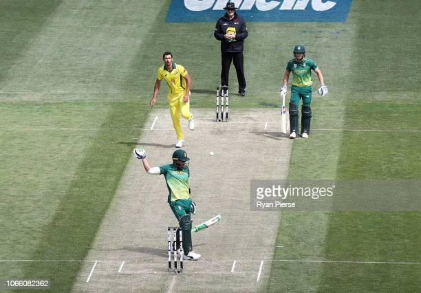 Faf du Plessis of South Africa drops his bat after being struck on the hands by a delivery from Mitchell Starc of Australia during game three of the...