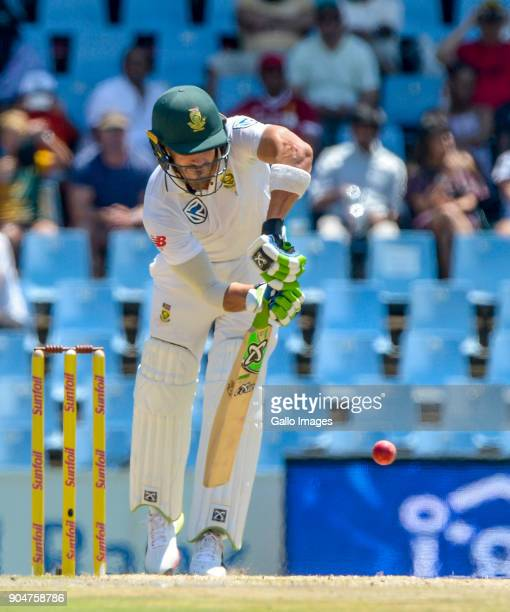 Faf du Plessis of South Africa during day 2 of the 2nd Sunfoil Test match between South Africa and India at SuperSport Park on January 14 2018 in...