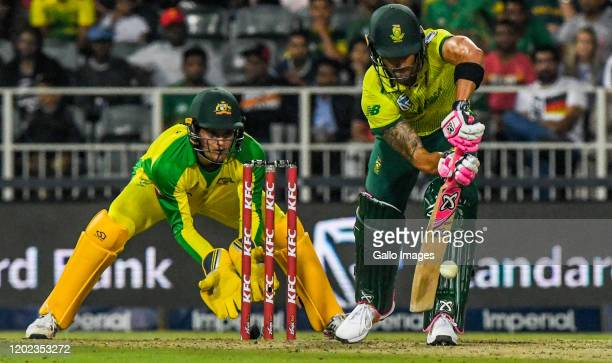 Faf du Plessis of South Africa during the 1st KFC T20 International match between South Africa and Australia at Imperial Wanderers Stadium on...