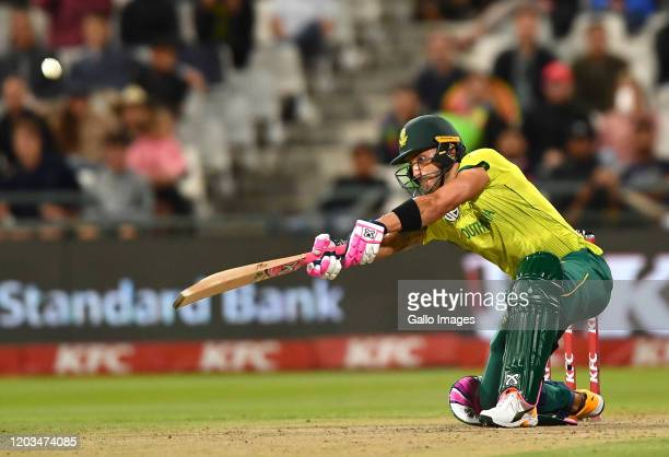 Faf du Plessis of South Africa during the 3rd KFC T20 International match between South Africa and Australia at Newlands Cricket Stadium on February...