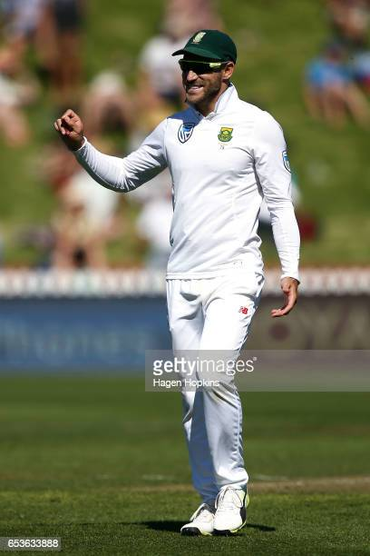 Faf du Plessis of South Africa enjoys a laugh during day one of the Test match between New Zealand and South Africa at Basin Reserve on March 16 2017...