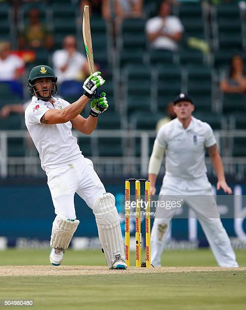 Faf du Plessis of South Africa hits out during day one of the 3rd Test at Wanderers Stadium on January 14 2016 in Johannesburg South Africa