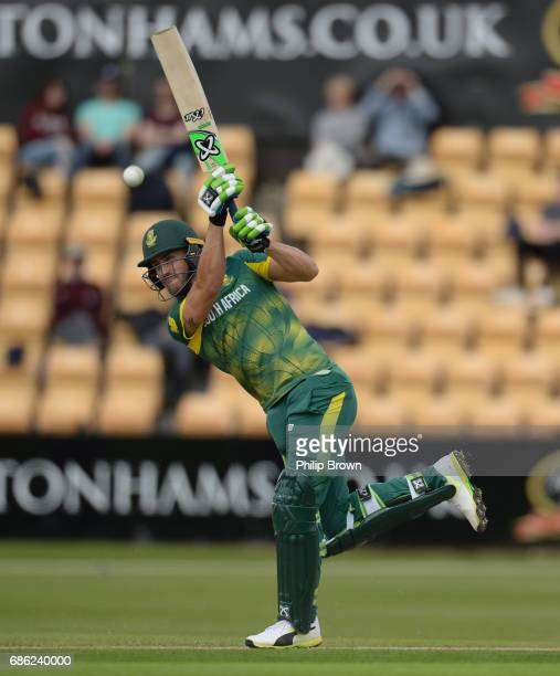 Faf du Plessis of South Africa hits out during the oneday match between Northamptonshire and South Africa at the County Ground on May 21 2017 in...