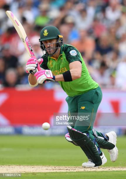 Faf du Plessis of South Africa in action batting during the Group Stage match of the ICC Cricket World Cup 2019 between New Zealand and South Afica...