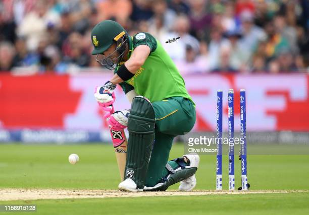 Faf du Plessis of South Africa is bowled by Lockie Ferguson of New Zealand during the Group Stage match of the ICC Cricket World Cup 2019 between New...