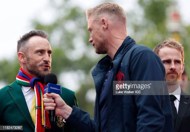 Faf Du Plessis of South Africa is interviewed by Andrew Flintoff during the ICC Cricket World Cup 2019 Opening Party at The Mall on May 29, 2019 in...