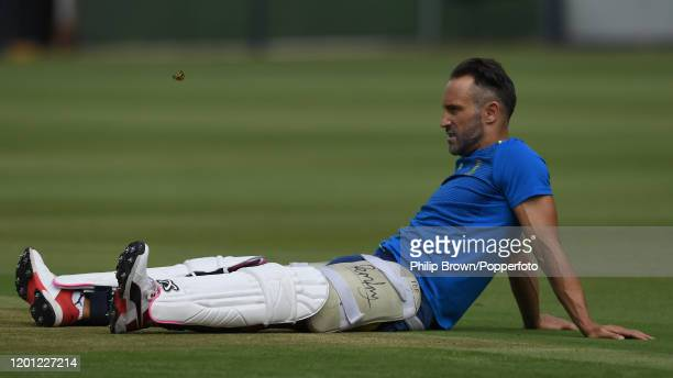Faf du Plessis of South Africa looks on at the Wanderers during a training session before the fourth Test match against England on January 22 2020 in...