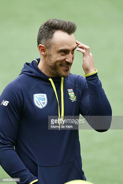Faf Du Plessis of South Africa looks on during a South Africa training session at Adelaide Oval on November 22 2016 in Adelaide Australia